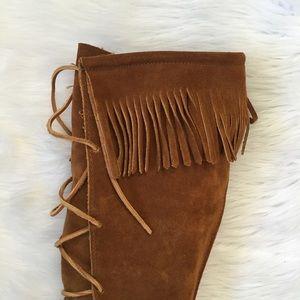 Minnetonka Shoes - Minnetonka Leather Fringe Knee High Boots